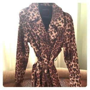 Dana Buchman Animal Print Trench-coat